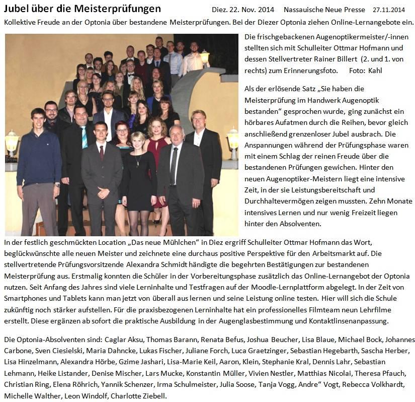 NNP 27.11.14 Jubel über Meisterprüfung