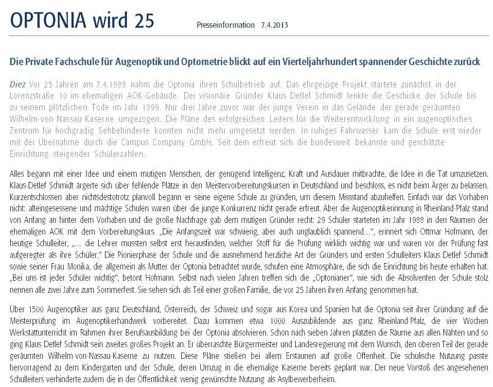 Presseinformation: Optonia 25 Teil 1