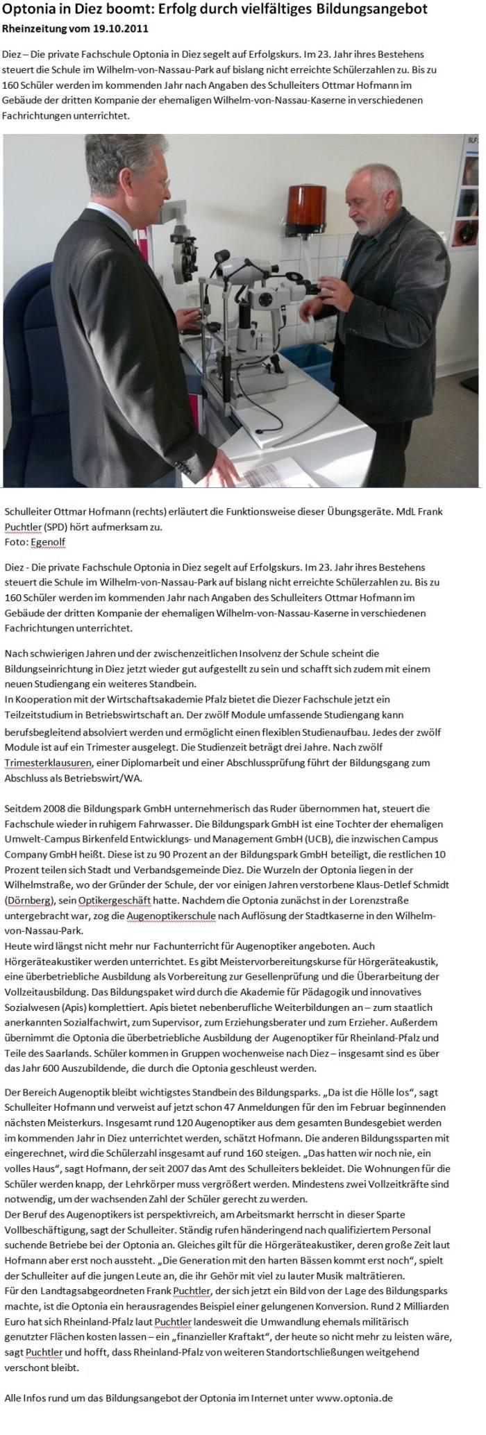 Presseartikel: Optonia in Diez boomt Okt. 2011