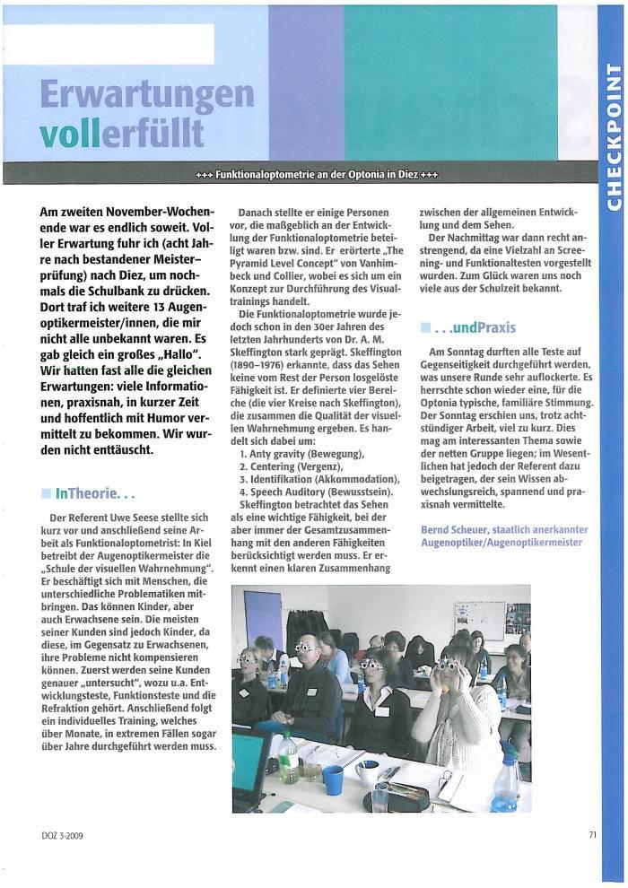 Pressebericht: Funktionaloptometrie an der Optonia