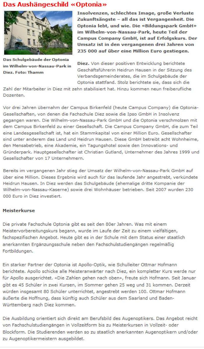 Pressebericht: Aushängeschild Optonia