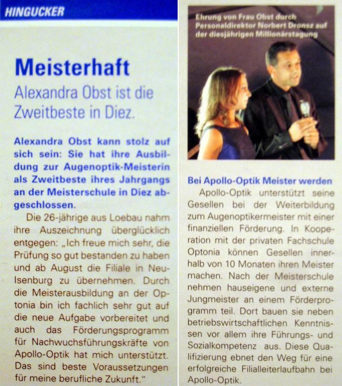 Pressebericht: Meisterhaft: A.Obst Zweitbeste in Diez