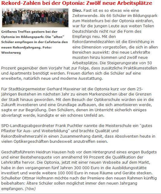Pressebericht: Rekordzahlen bei der Optonia