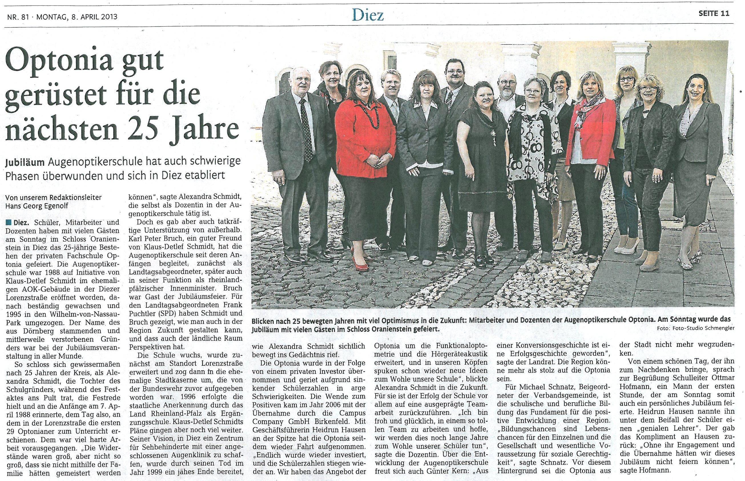 Rhein-Zeitung-Artikel April 2013