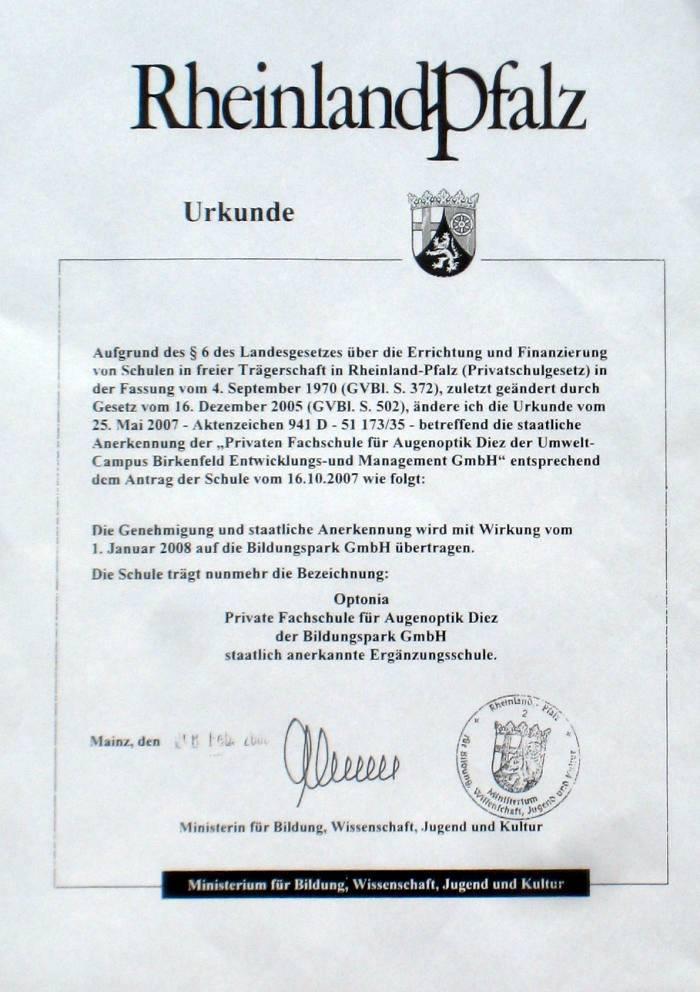 Urkunde Optonia